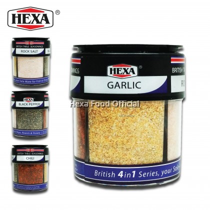 HEXA HALAL British 4 In 1 Table Seasoning (85g) Garlic, Chili, Black Pepper, Rock Salt