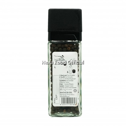 HEXA BLACK PEPPER WITH GRINDER (GLASS JAR) 40g