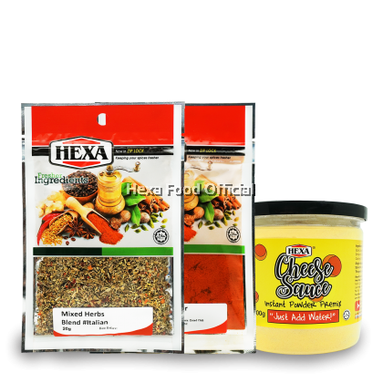 "Nachos Set HEXA Cheese Sauce Premix 200g + Paprika Powder 30g+ Italian Mixed Herbs 20g"""