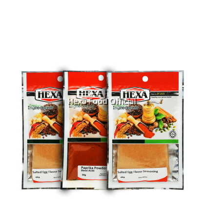HEXA Salted Egg Flavor Seasoning 2x 40g + Paprika Powder 30G