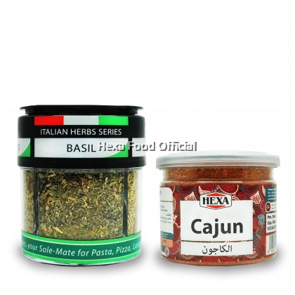 HEXA HALAL Cajun Spice 85gm + HEXA HALAL 4IN1 Italian Herbs (Basil+ Oregano+ Rosemary+ Parsley) 24gm