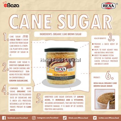 HEXA HALAL Organic Cane Brown Sugar 300gm