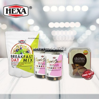 HEXA SAHUR SET 1: HEXA Breakfast Oat Mix 350g*1 + HEXA NUT TREAT IOUS 300g*2 + (FREE GIFT) HEXA Delish Tunisian Branch Dates 250gm*1